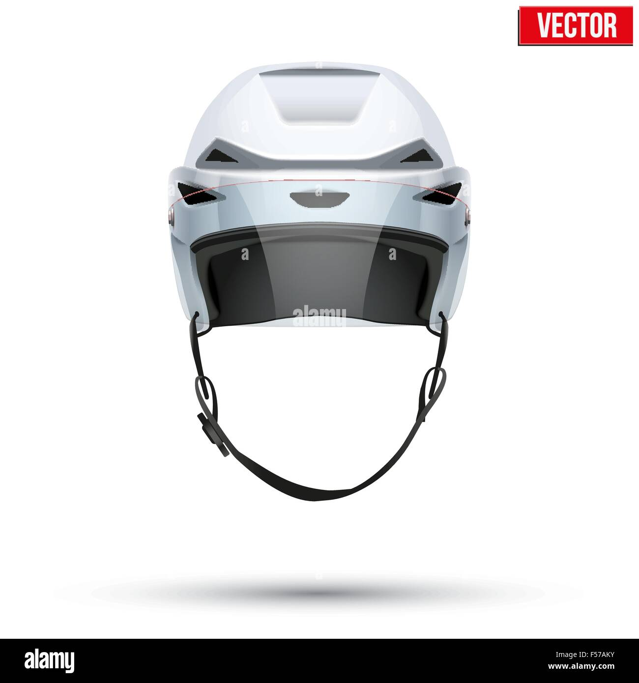 Classic white Ice Hockey Helmet with glass visor isolated on Background. Vector. - Stock Image