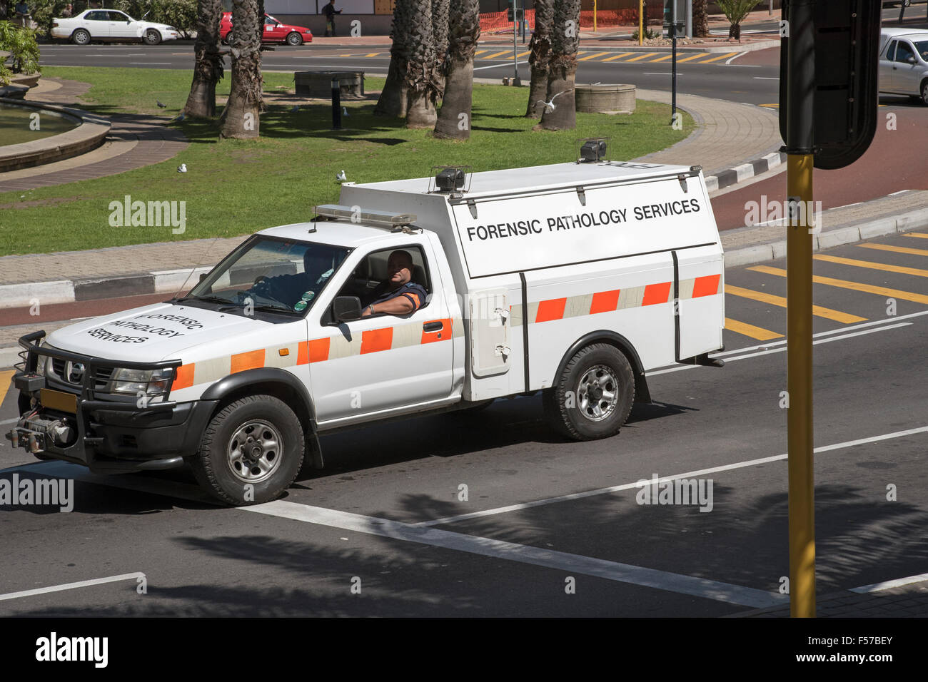 Forensic Pathology services vehicle Cape Town city centre South Africa - Stock Image