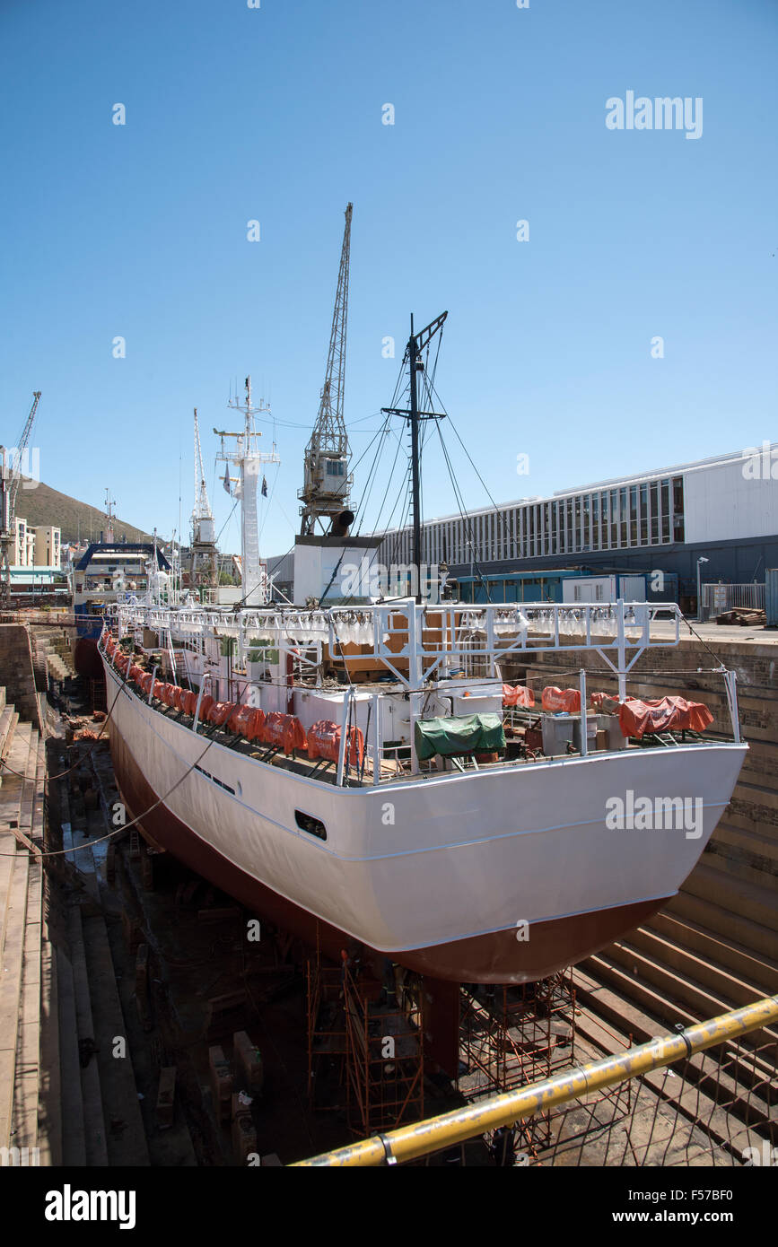Fishing vessel in dry dock  for maintenance Cape Town South Africa - Stock Image
