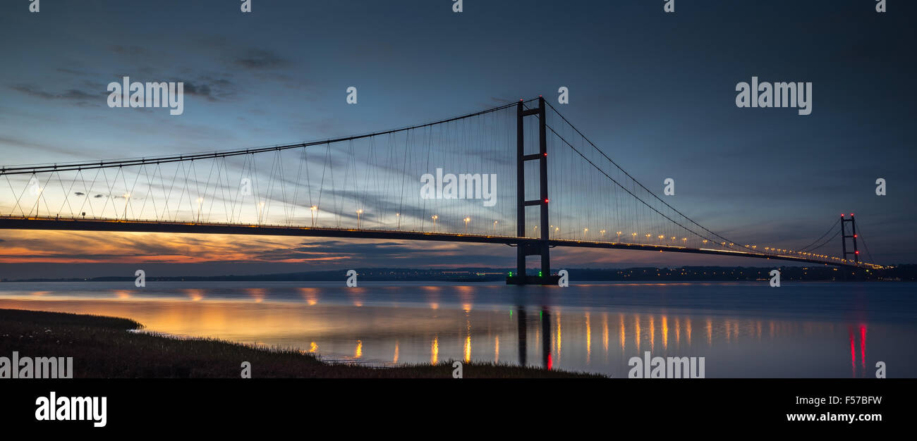 The Humber Bridge at Sunset Stock Photo