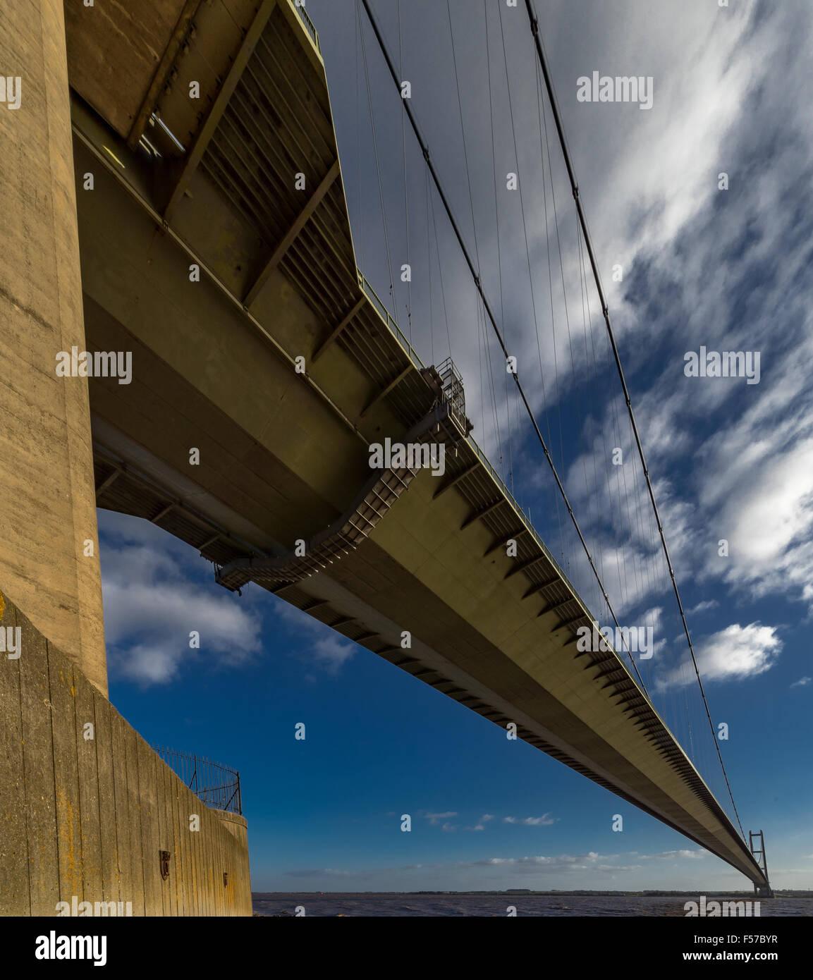 The Humber Suspension Bridge, Hull, United Kingdom. - Stock Image