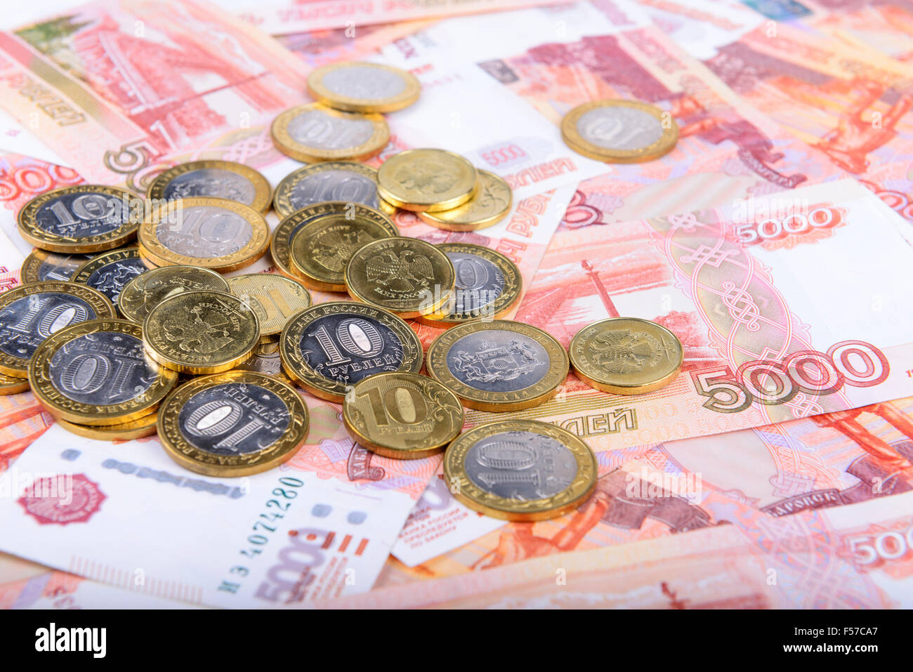 Russian rubles background Stock Photo