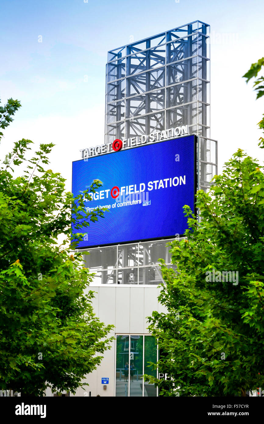 Target Field Station giant TV outside the sports stadium in Minneapolis MN - Stock Image