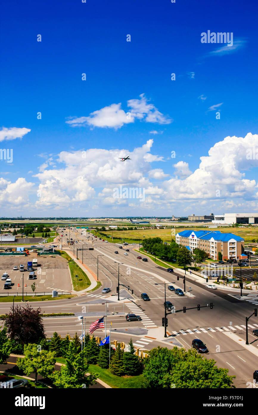 Minneapolis-St.Paul International airport and surrounding hotels in Minnesota - Stock Image
