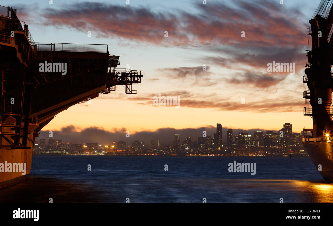 USS Hornet. Historic Navy aircraft carrier, docked in Alameda, CA. Stock Photo