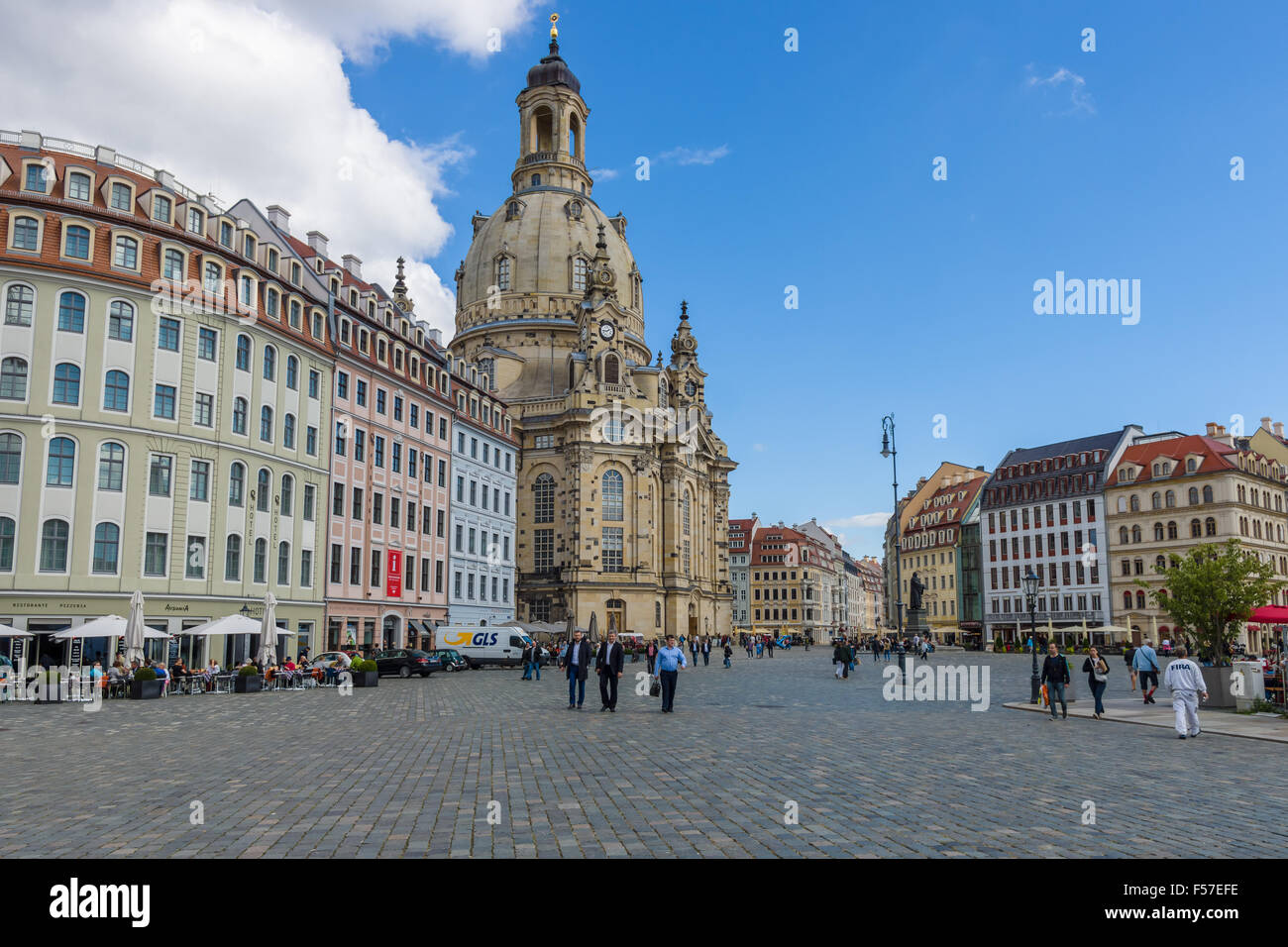 Neumarkt square and Dresden Frauenkirche (Church of Our Lady). Dresden is the capital of Saxony. Stock Photo