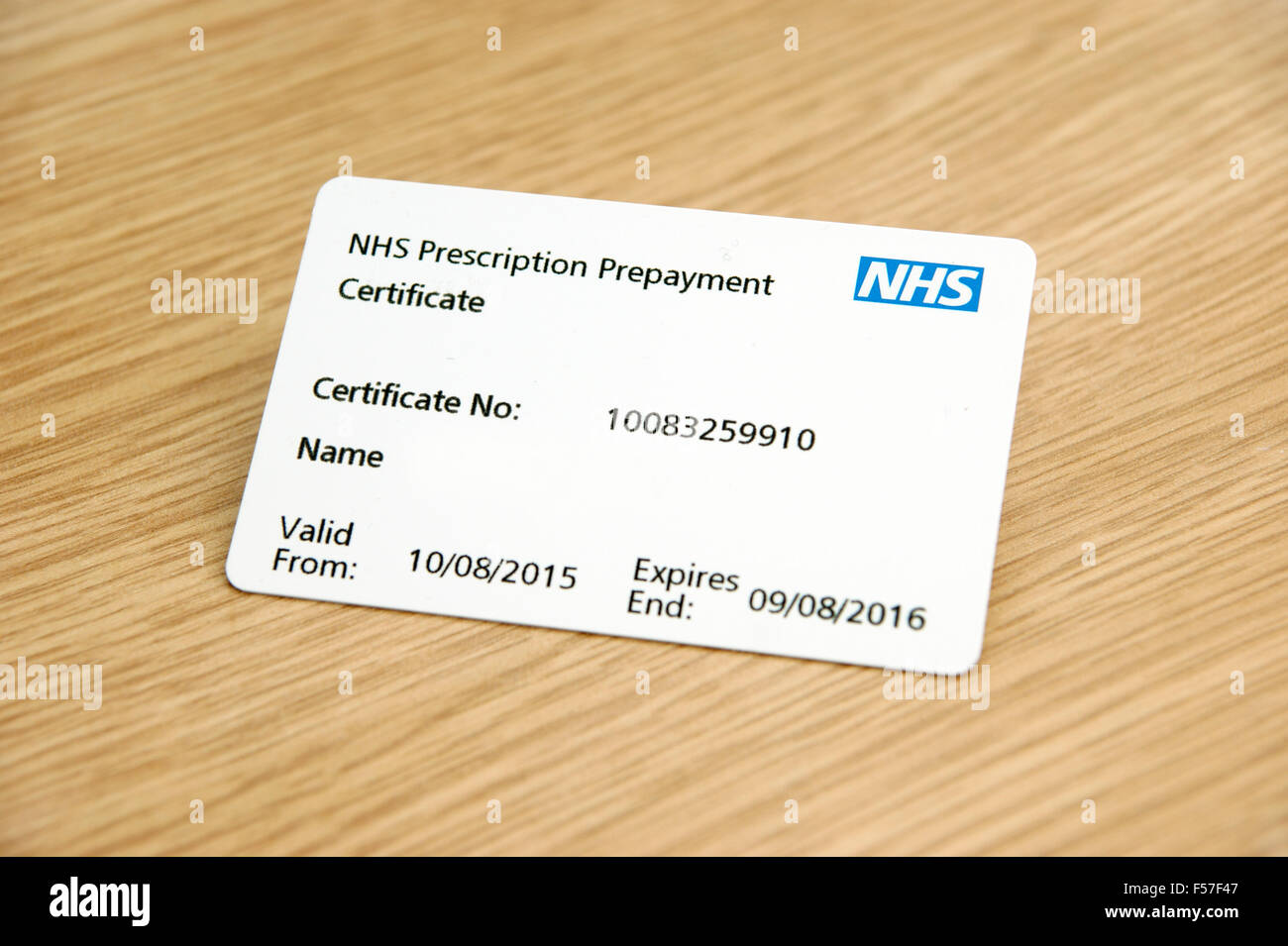 NHS prescription prepayment certificate (useful when lots of medication is taken eg 2 or more scripts a month) - Stock Image