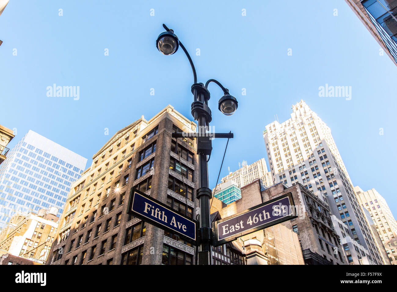 Fifth Avenue and 46th Street Sign, Manhattan, New York City, United States of America. - Stock Image