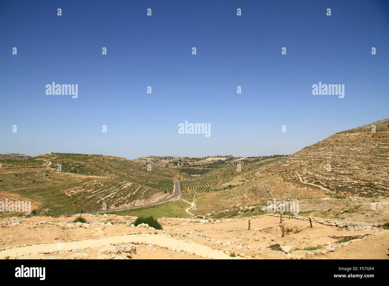 Samaria, the summit of Tel Shiloh, a view north of the observation tower - Stock Image