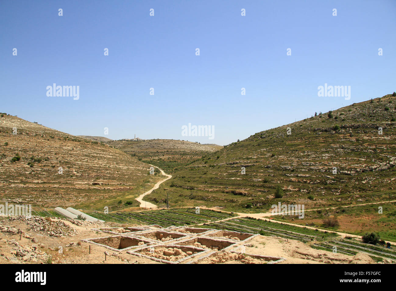 Samaria, a view Northeast from Tel Shiloh - Stock Image