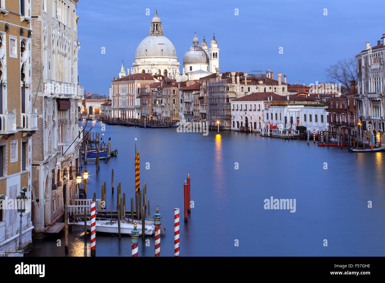 Venice Grand Canal evening view from Accademia Bridge, Italy Stock Photo
