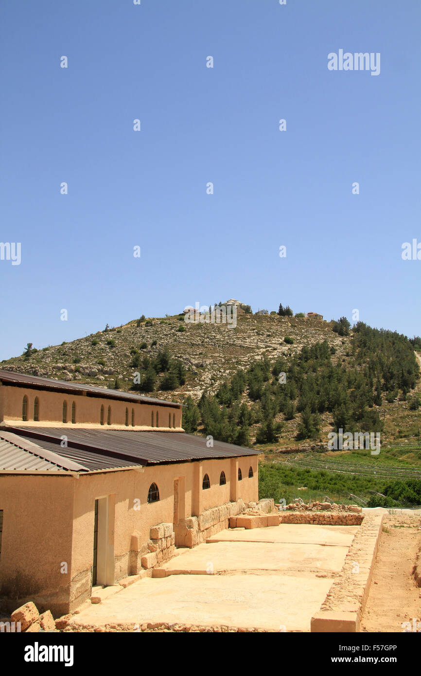 Samaria, the reconstructed Byzantine Basilica in Tel Shiloh - Stock Image