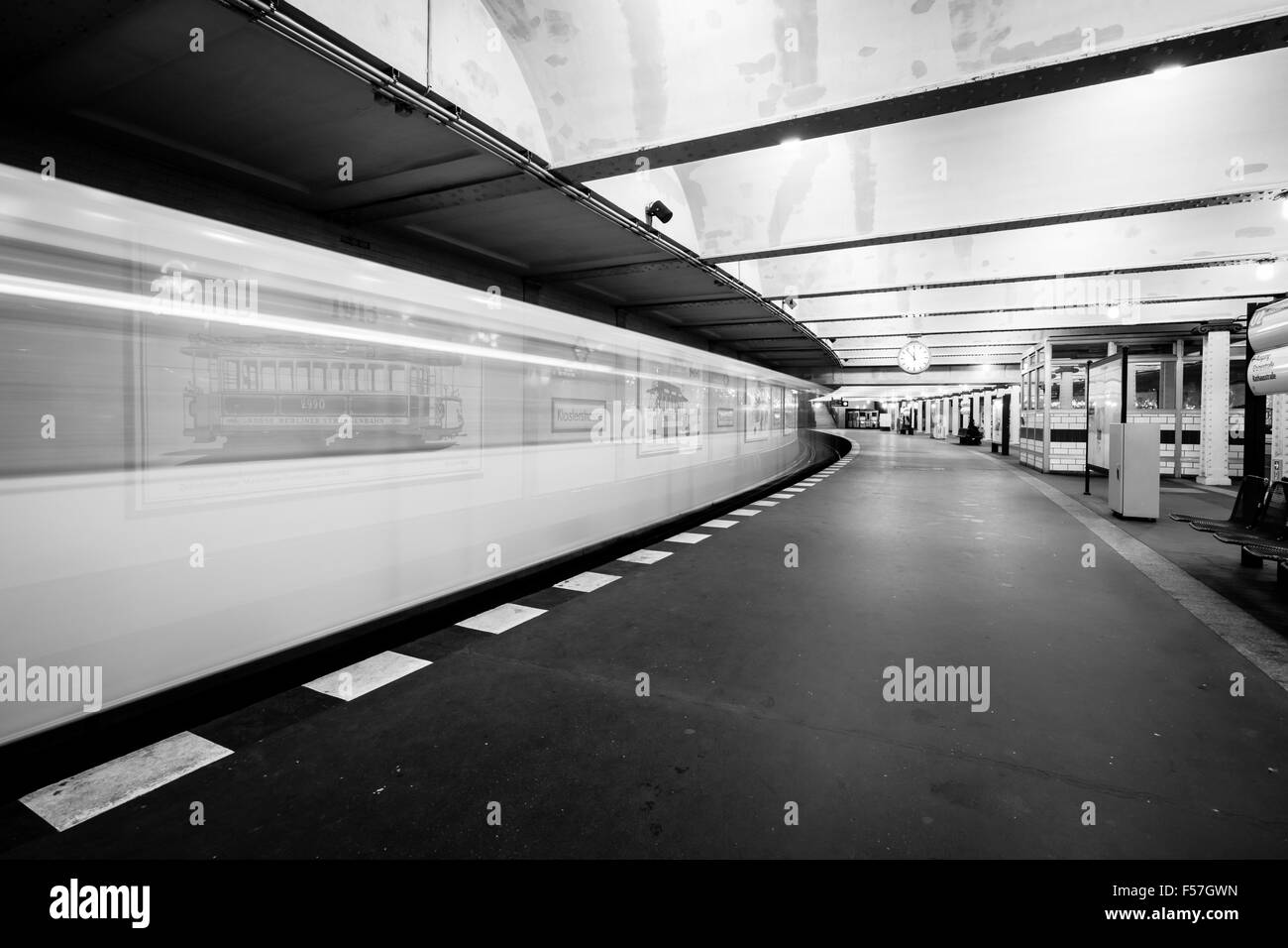 Metro station. The arrival of the train. Motion blur. Black and white. - Stock Image