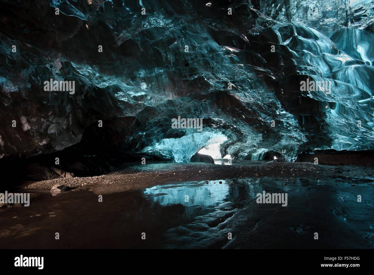 Ice cave iceland in the Vatnajokull glacier . - Stock Image