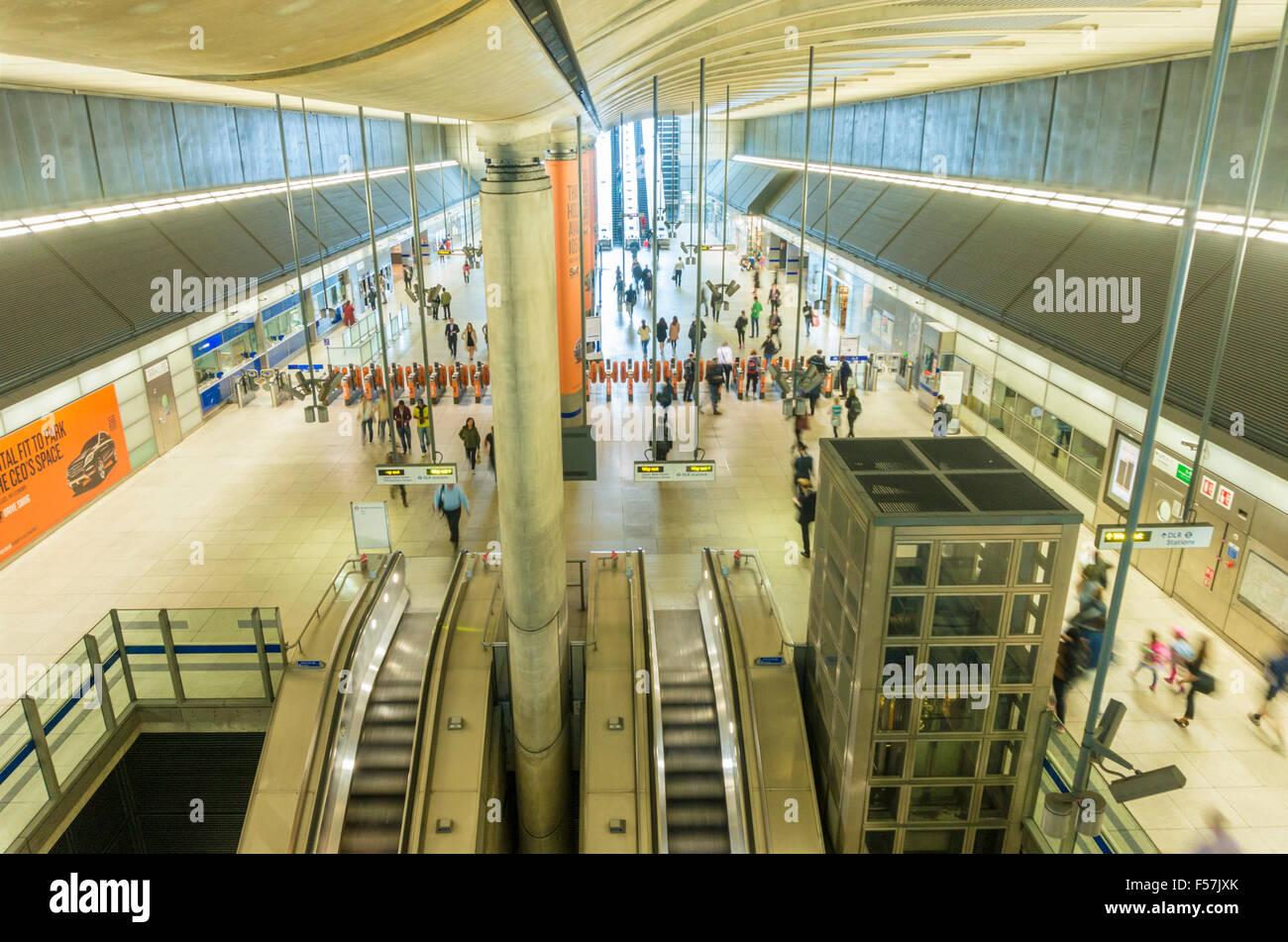 Canary wharf underground station entrance concourse London England UK Gb EU Europe - Stock Image