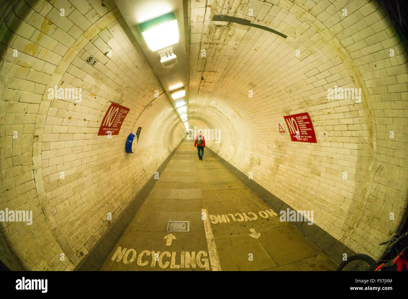 Greenwich foot tunnel going under the river Thames linking Greenwich and isle of Dogs London England GB UK EU Europe - Stock Image