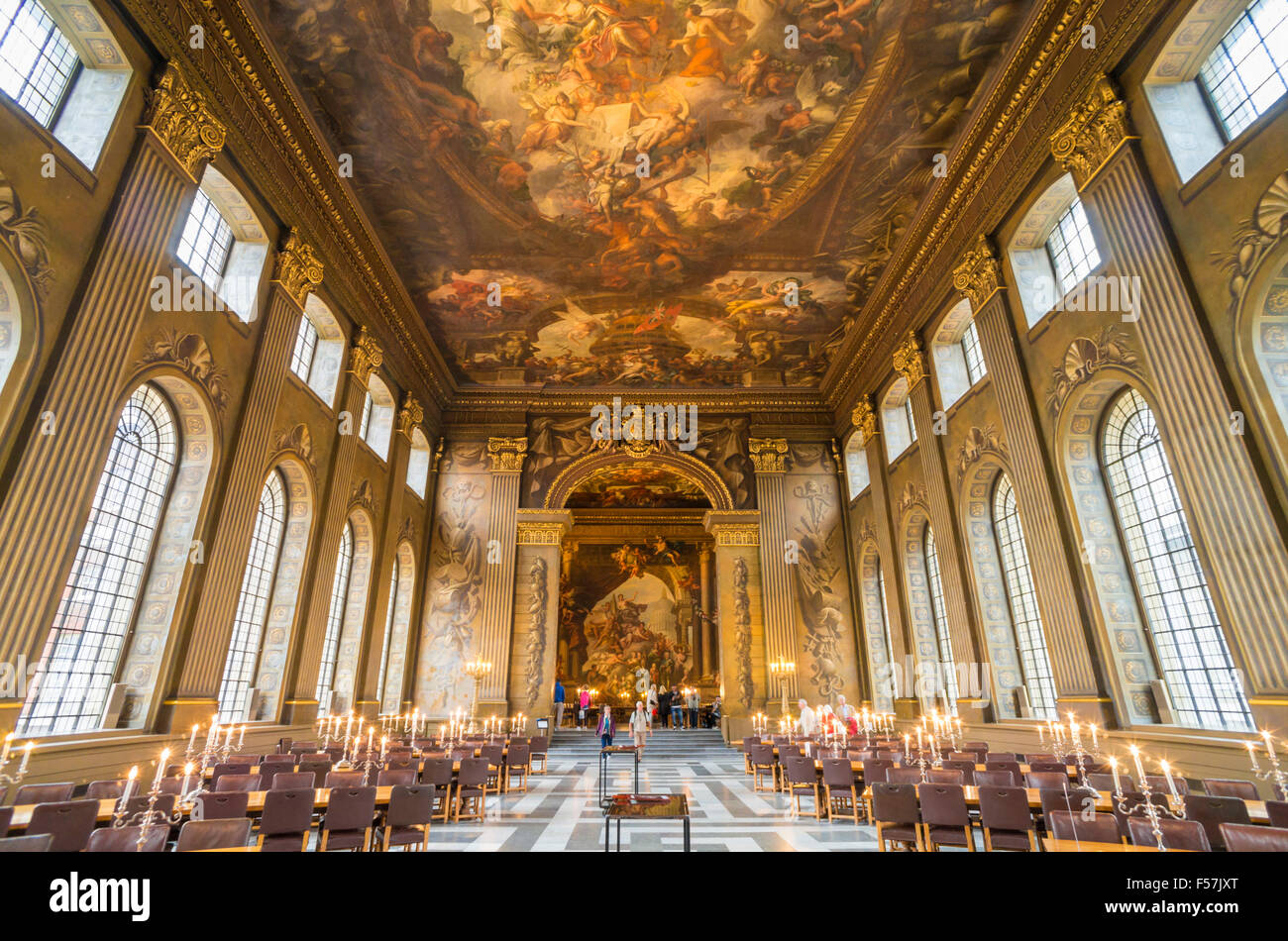 Tourists Visiting The Painted Hall A Dining Hall In The