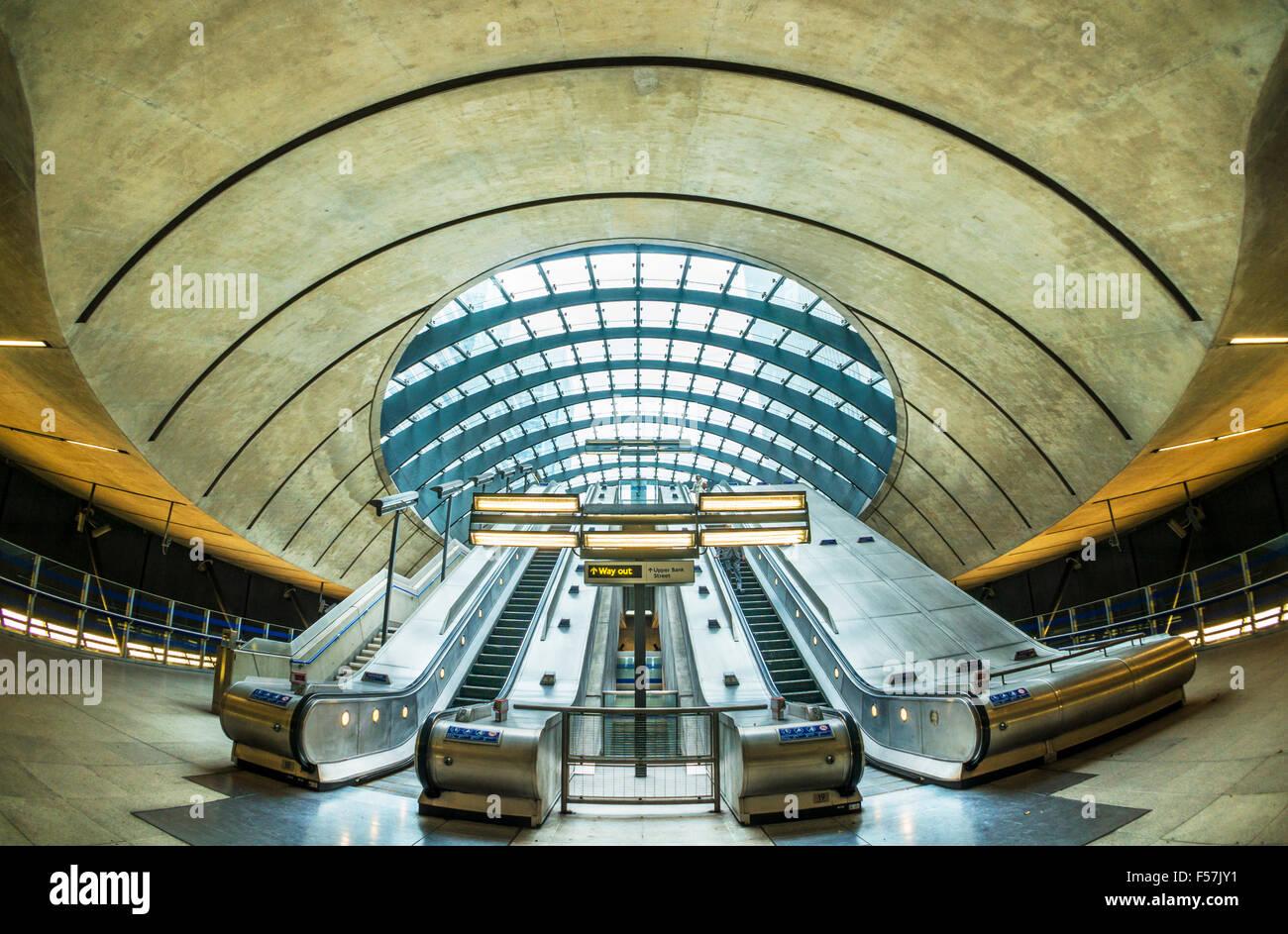 Canary wharf dlr underground station entrance with escalators London England UK Gb EU Europe - Stock Image