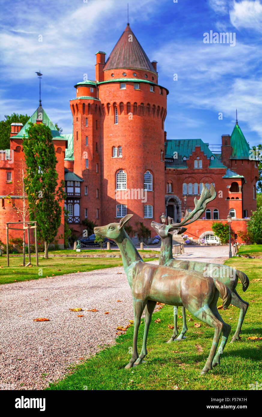Image of the castle of Hjularod in Sweden, built in a french medieval romance style. - Stock Image