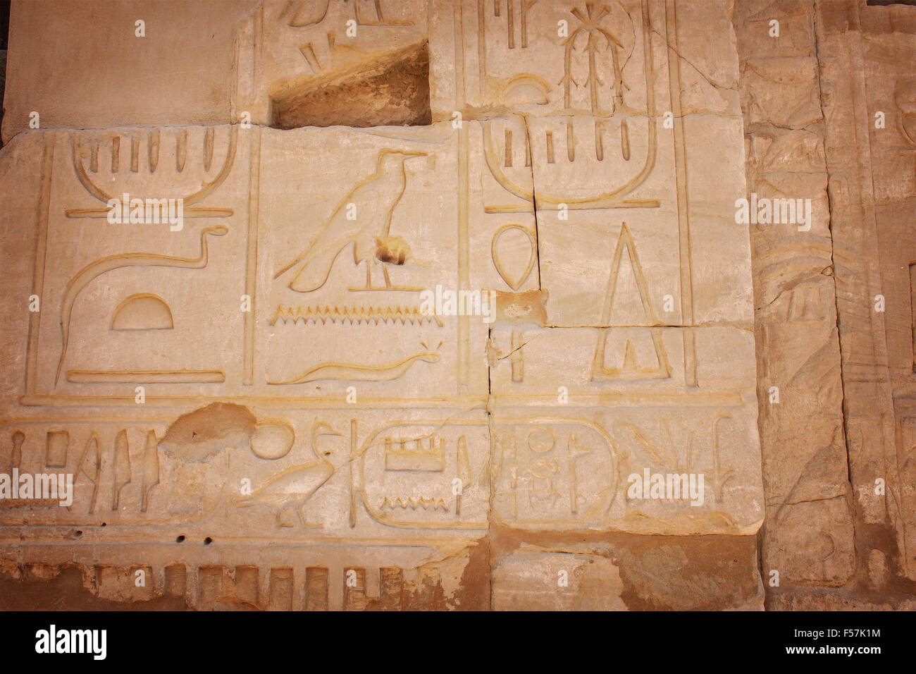 Image of carved images at the temple of Karnak, Egypt. - Stock Image