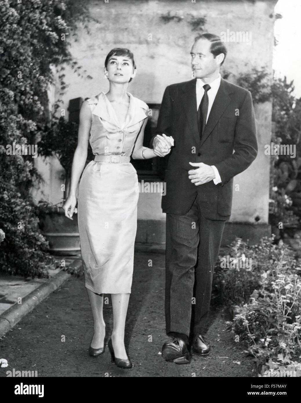 AUDREY HEPBURN British film actress with husband Mel Ferrer about 1956 - Stock Image