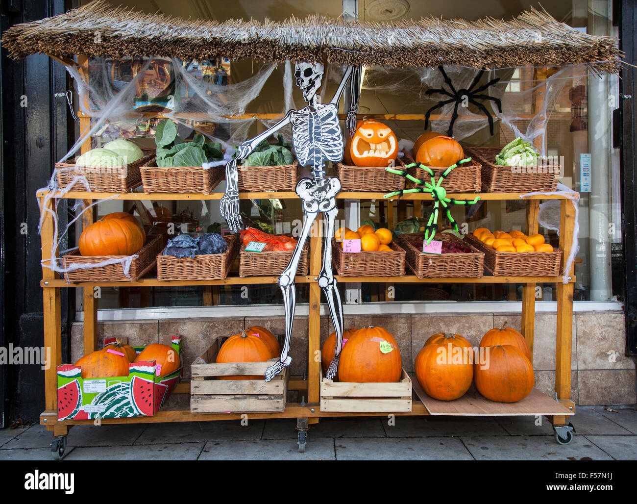 Southport, Merseyside, UK 29th October, 2015. 'Trick or Treat' Happy Halloween Wesley Street. The Wesley - Stock Image