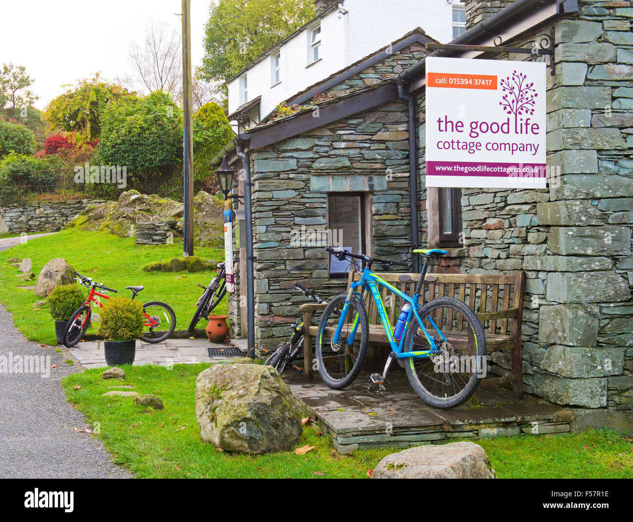 The office of the Good Life Company, dealing in holiday cottages, Elterwater, Great Langdale, Lake District, Cumbria, Stock Photo