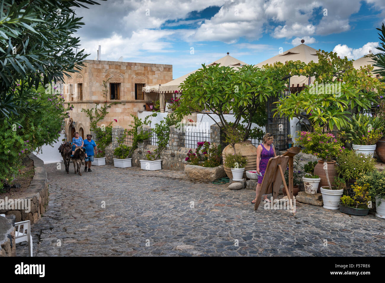 The town of Lindos on the Greek island of Rhodes. - Stock Image