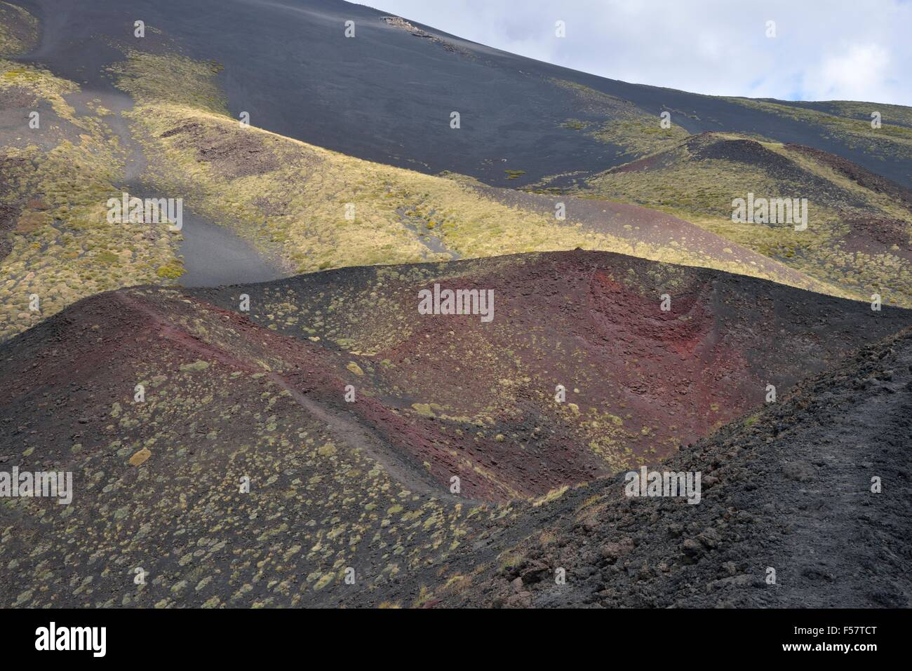 Side crater Monti Calcarazzi, Mount Etna, Sicily, Italy - Stock Image