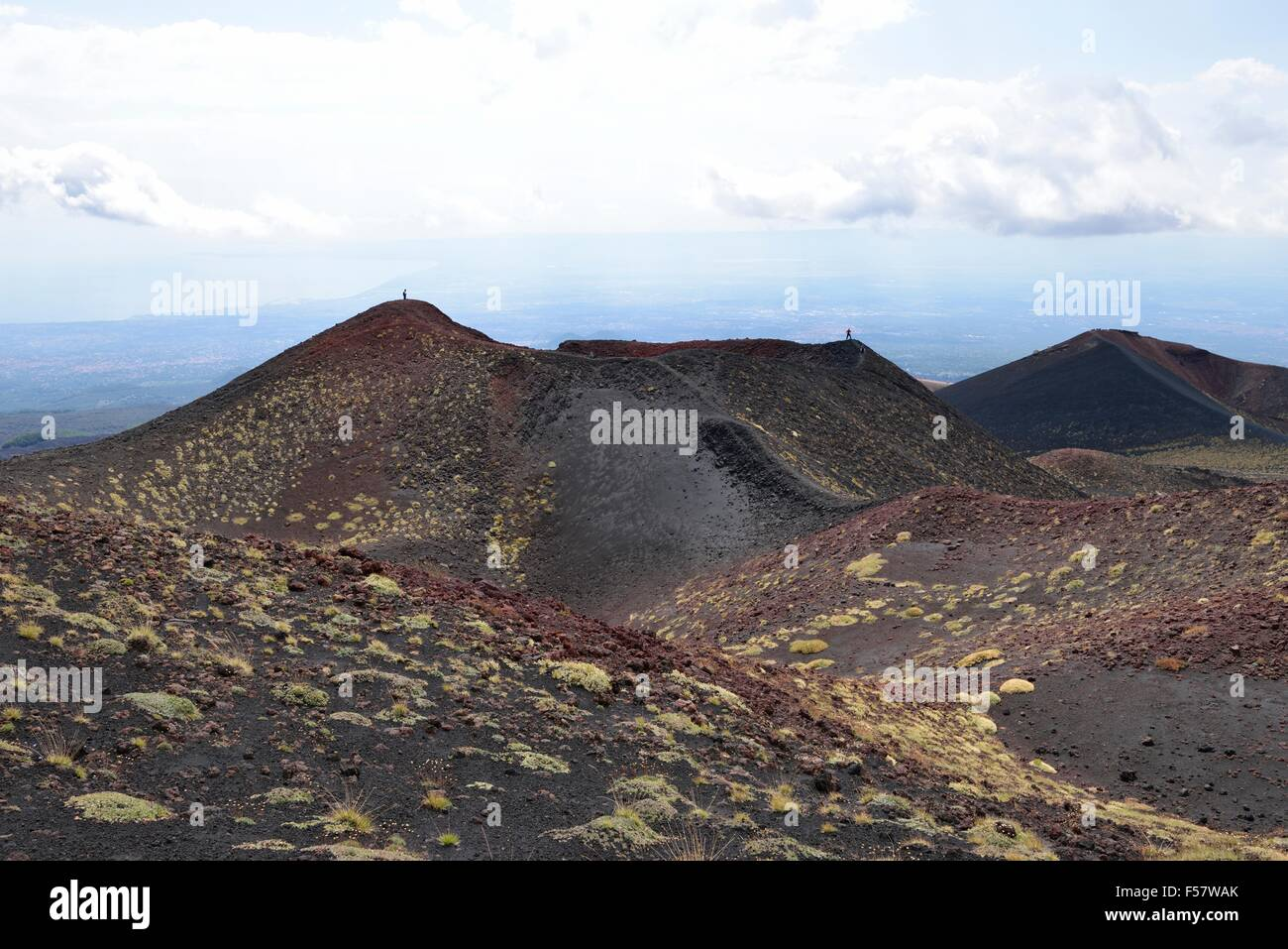 Side crater Crateri Silvestri, Mount Etna, Sicily, Italy - Stock Image