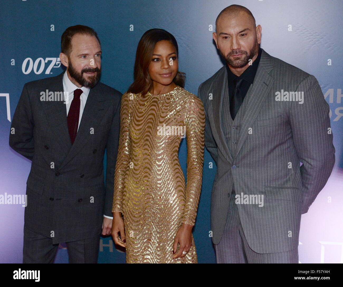 Moscow, Russia. 29th Oct, 2015. English actor Ralph Fiennes, British actress Naomie Harris and American actor David - Stock Image