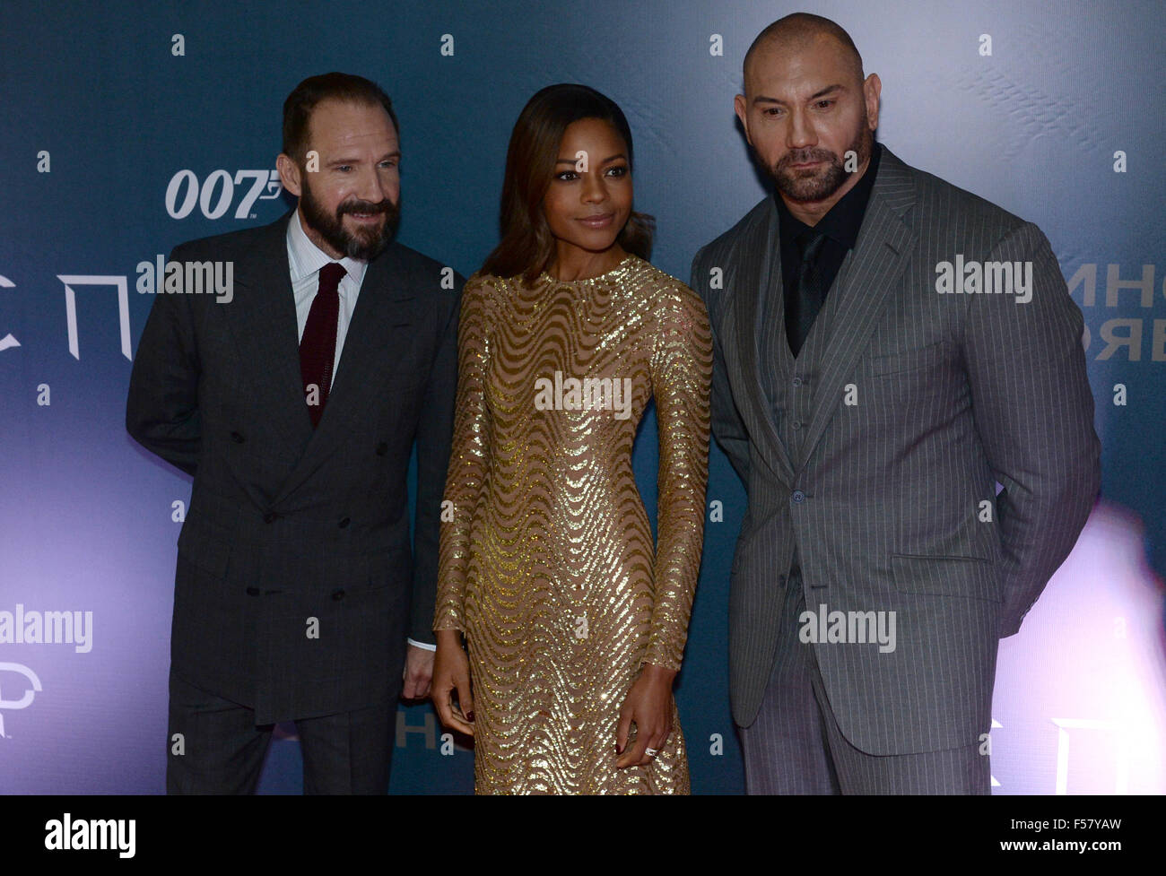 Moscow, Russia. 29th Oct, 2015. British actor Ralph Fiennes, British actress Naomie Harris and American actor Dave - Stock Image