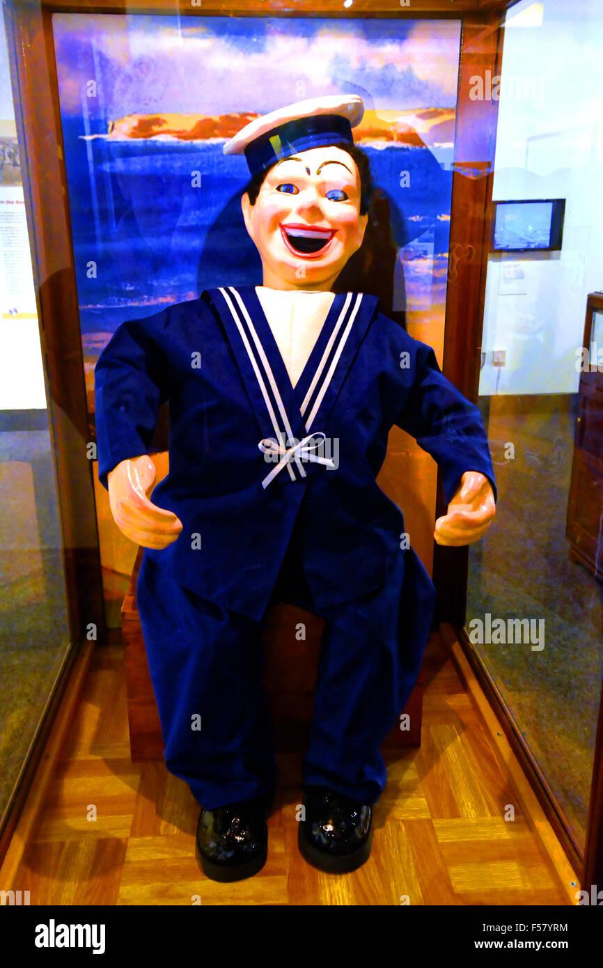 Seaside laughing sailor policeman autonomat - Stock Image