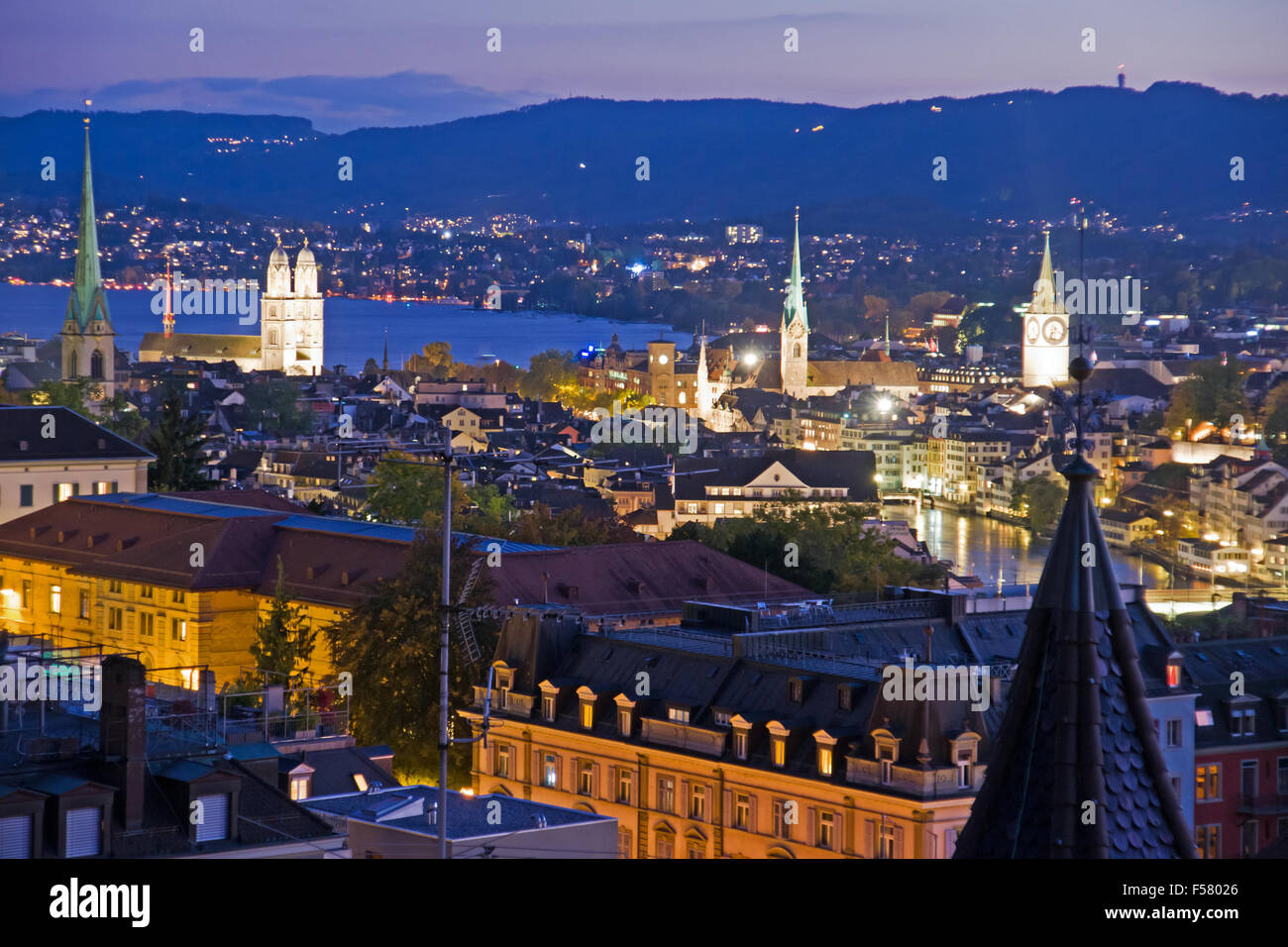A view over beautiful Zurich at night Stock Photo