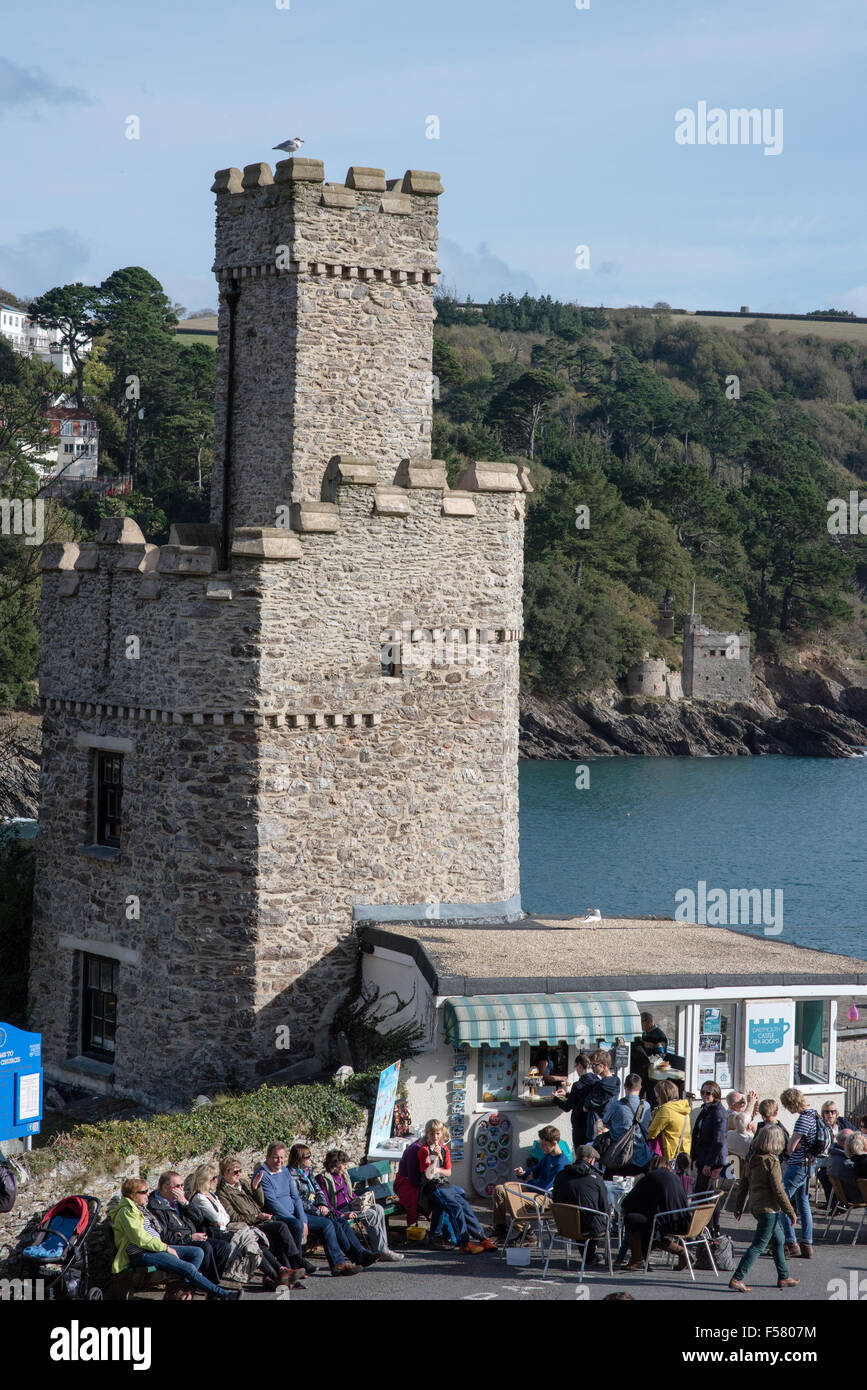 Busy tearooms at the historic Dartmouth Castle on the mouth of the River Dart in Devon with lots of people enjoying Stock Photo