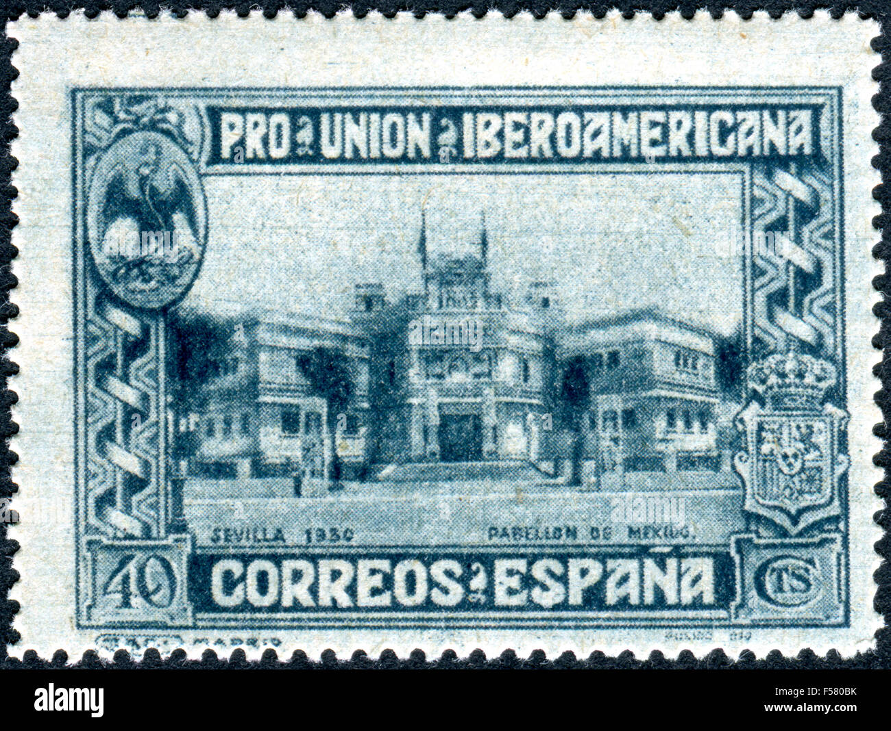 Postage stamp printed in Spain, dedicated to the Spanish-American Union Exhibition, Seville, show Mexico Pavilion, - Stock Image