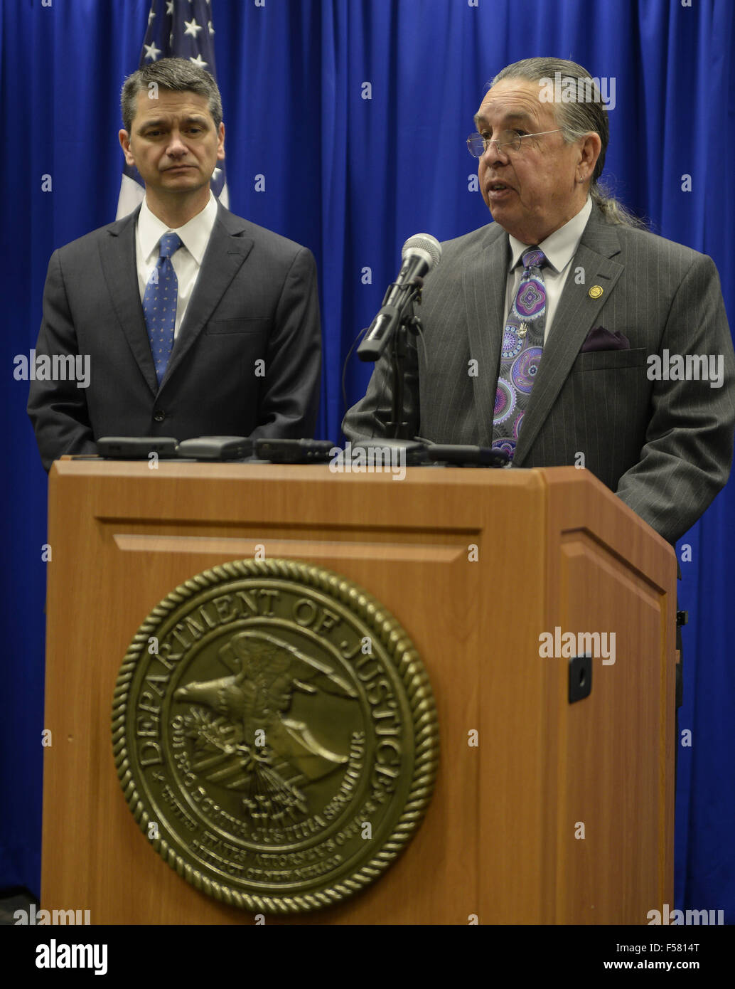 U S Attorney Damon Martinez Left Listens As Chairman Of The Indian Arts And Crafts Board Harvey Pratt Speaks At A Press Conference To Announce The