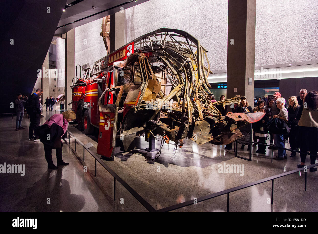 Crushed fire truck, ladder 3, National September 11 Memorial & Museum 9/11, New York City, United States of America. Stock Photo