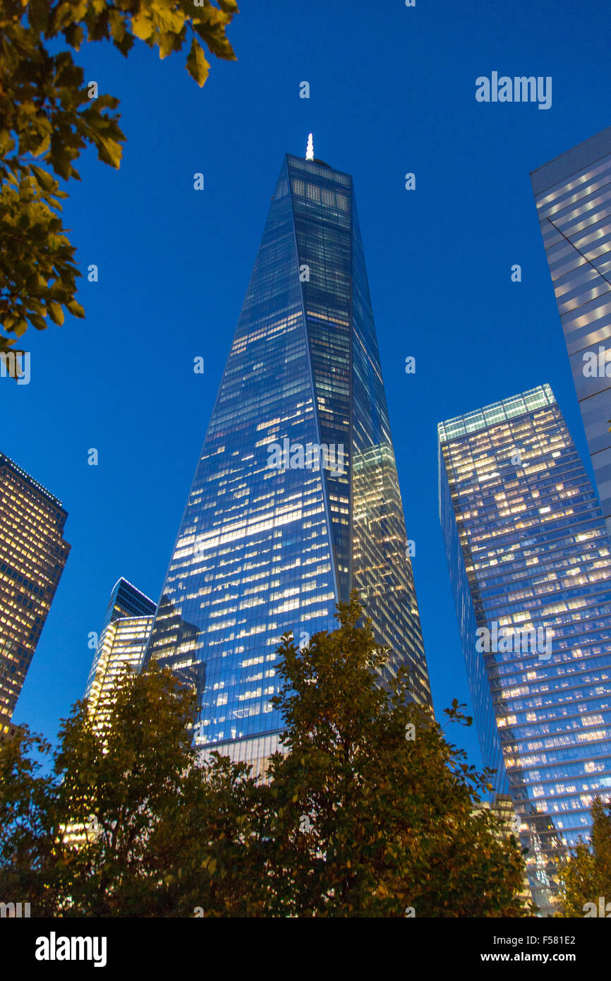 One World Trade Center (freedom tower) at night , Lower Manhattan, new York City, United states of America. - Stock Image