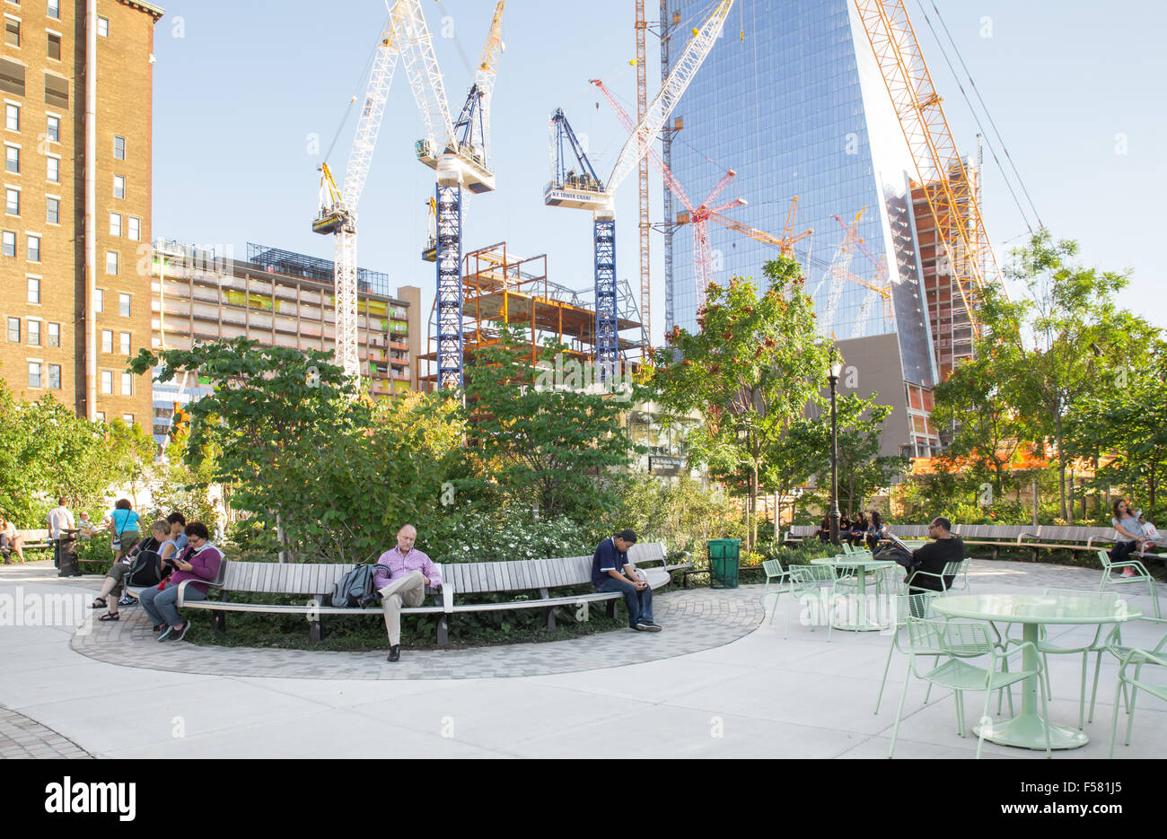 NEW YORK CITY - SEPTEMBER 14, 2015: View of newly developed Hudson Yards Park in Manhattan with people visible. - Stock Image