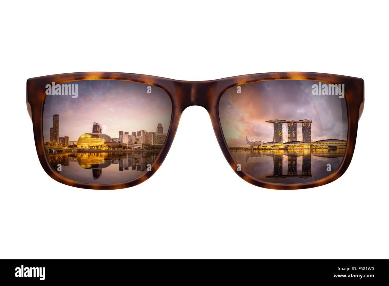 Sunglasses with beautiful panorama of Singapore - Stock Image
