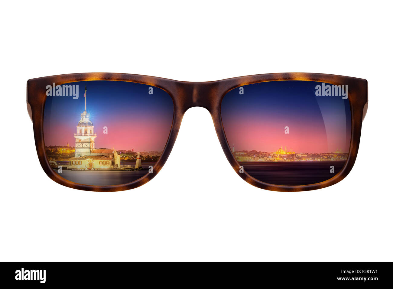 Sunglasses with beautiful panorama of Istanbul - Stock Image