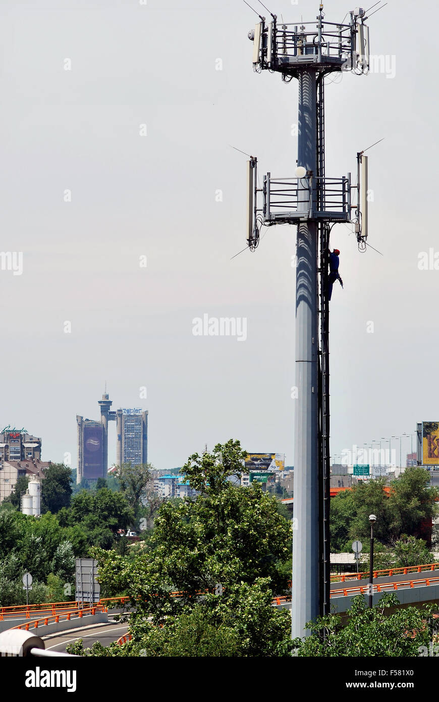 Stand for antennas and panorama of New Belgrade Stock Photo