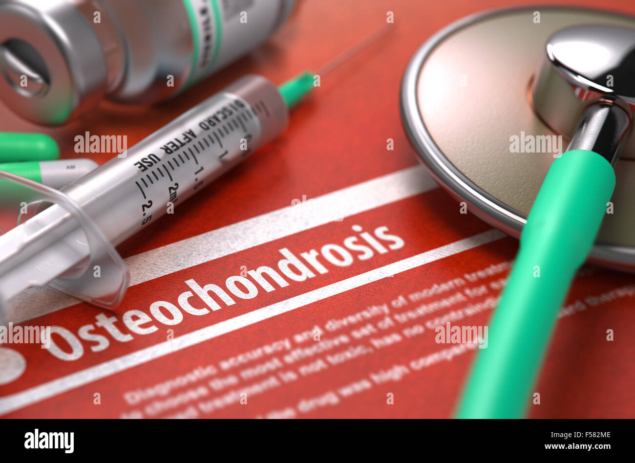 Osteochondrosis - Printed Diagnosis on Orange Background and Medical Composition - Stethoscope, Pills and Syringe. - Stock Image