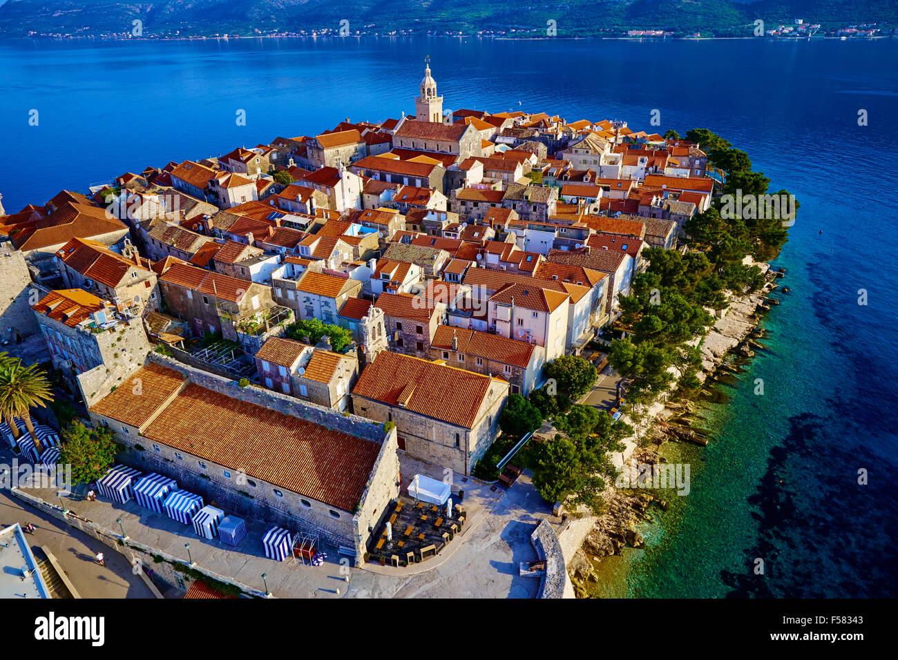 Croatia, Dalmatia, Korcula island, Korcula city, aerial view - Stock Image