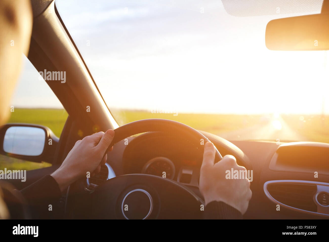 driving car on the empty road, travel background - Stock Image