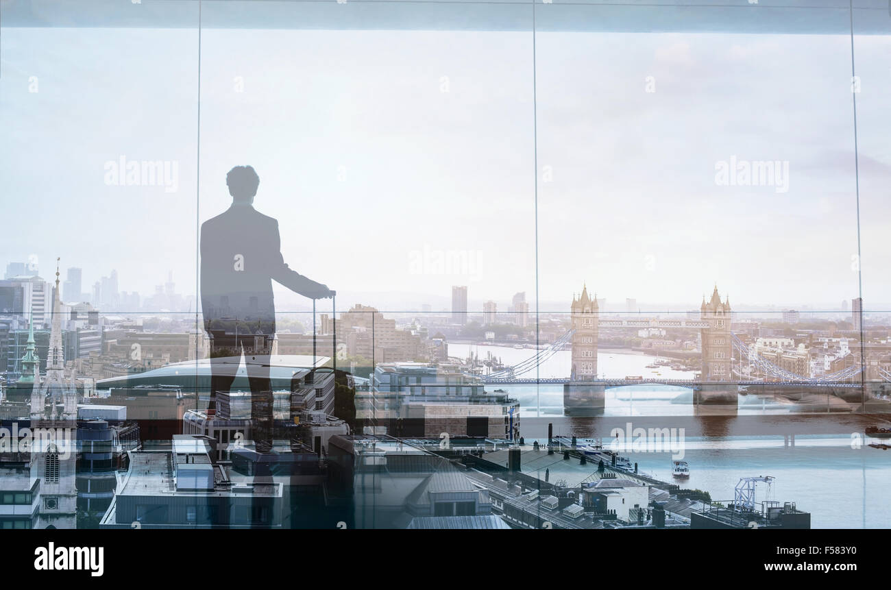 double exposure view of abstract business traveler - Stock Image