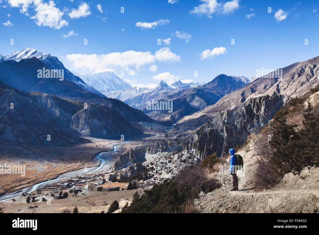 trekking in Nepal, Annapurna circuit view - Stock Image