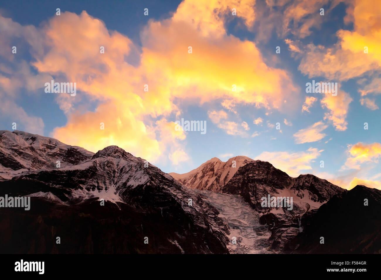 Himalaya mountains at sunset - Stock Image
