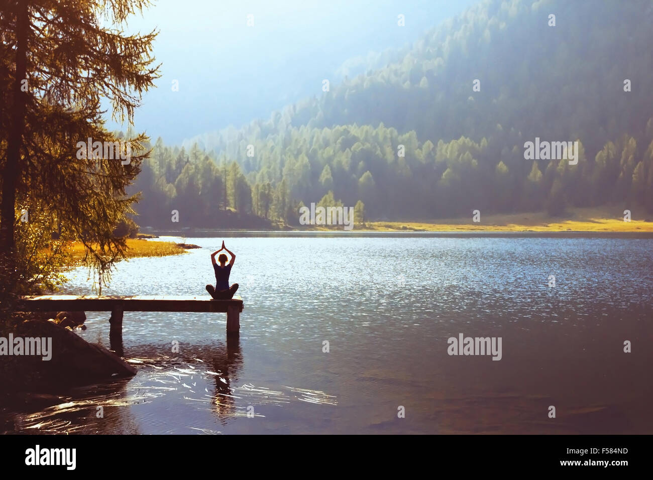 wellbeing and healthy lifestyle concept, yoga background - Stock Image